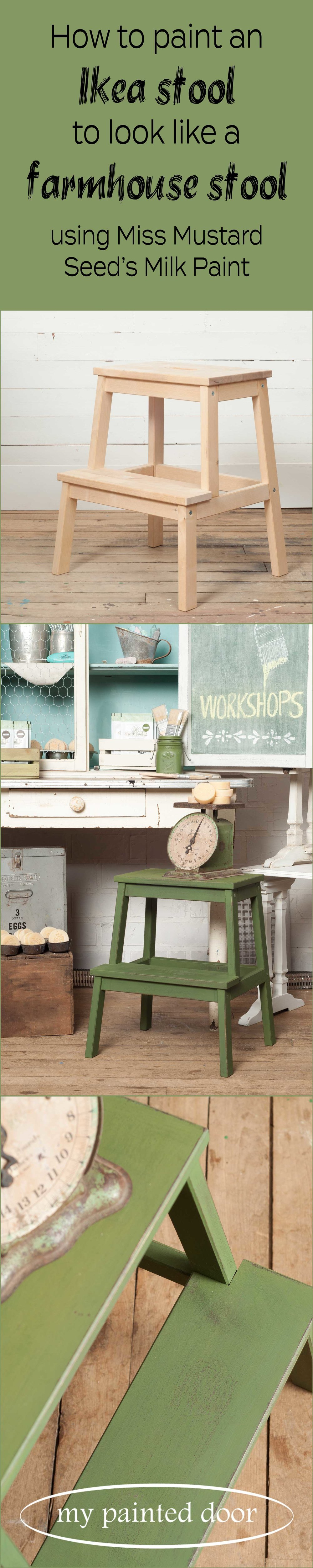 Ikea hack! Learn how to paint an Ikea stool to make it look like a farmhouse stool. Stool painted in Miss Mustard Seed's Milk Paint in the colour Boxwood.