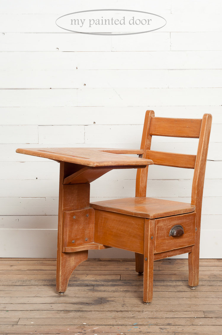 Before photo of an antique school desk painted in Miss Mustard Seed's Milk  Paint in the - Two Antique School Desks Get A Makeover With Milk Paint — My