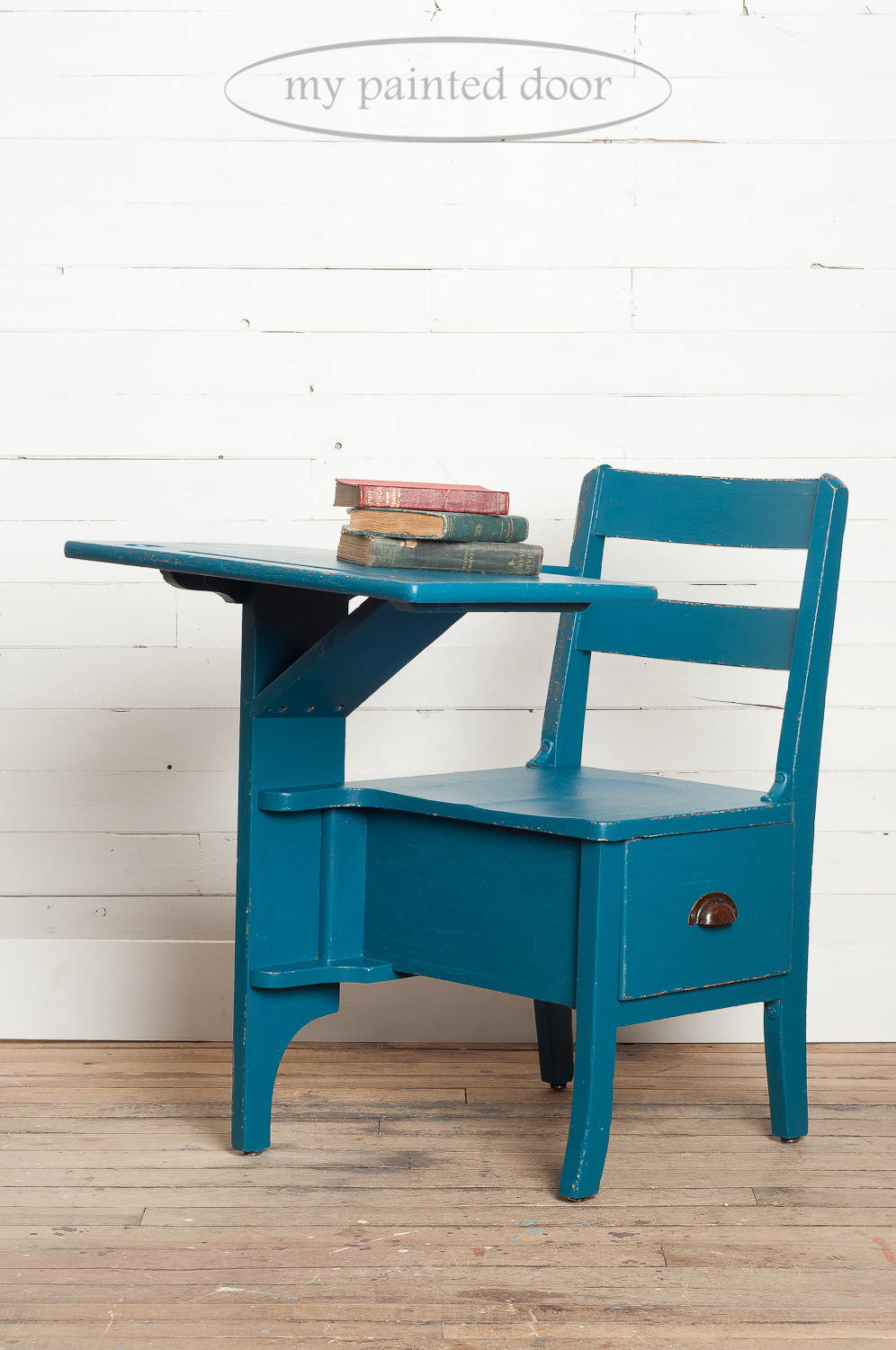 Antique school desk painted in Miss Mustard Seed's Milk Paint in the colour Flow Blue.