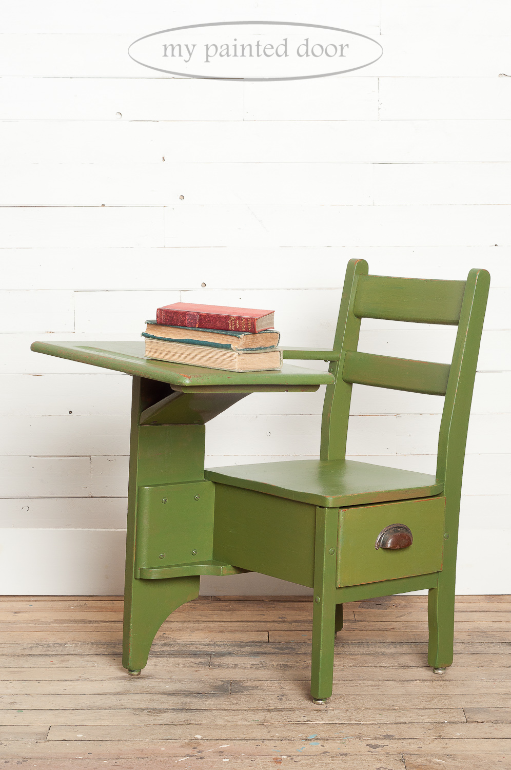 Before photo of an antique school desk painted in Miss Mustard Seed's Milk Paint in the colour Boxwood.