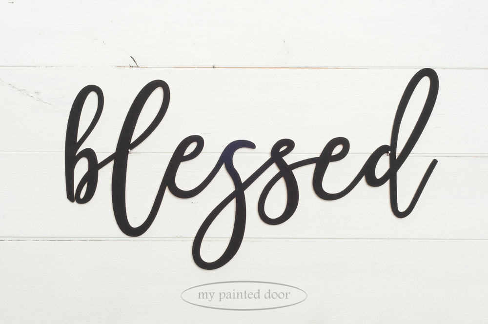 "Wooden laser cut word ""blessed"" painted with Miss Mustard Seed's Milk Paint in the colour Typewriter."