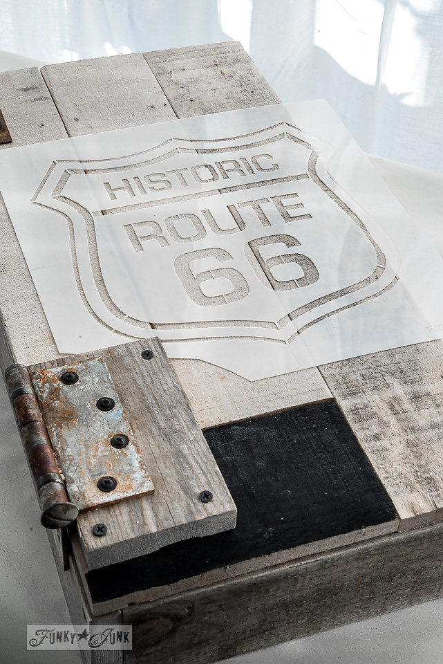 Route 66 stencil by Funky Junk Interiors - available at My Painted Door