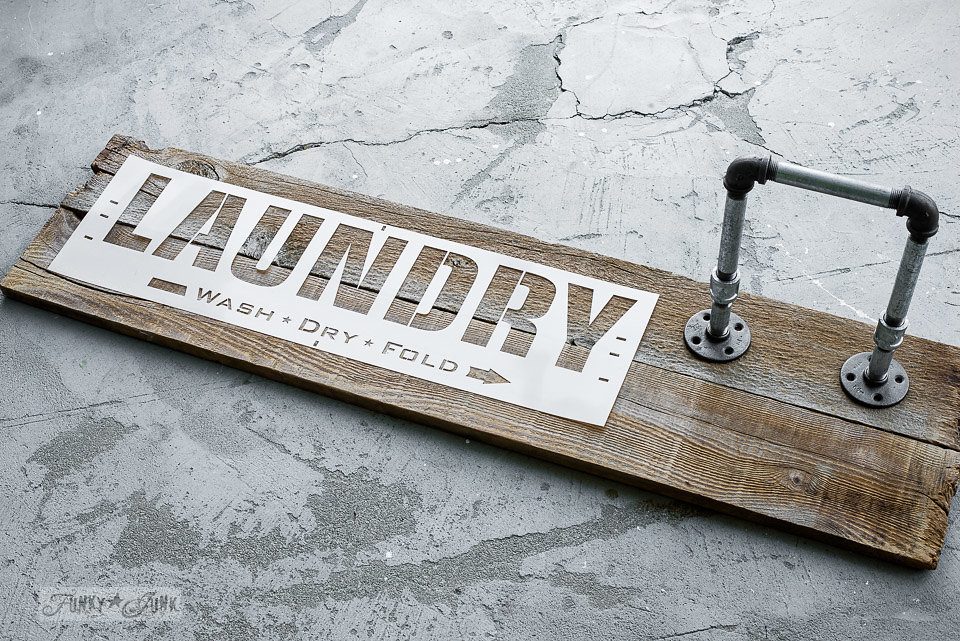 Laundry stencil by Funky Junk Interiors - available at My Painted Door