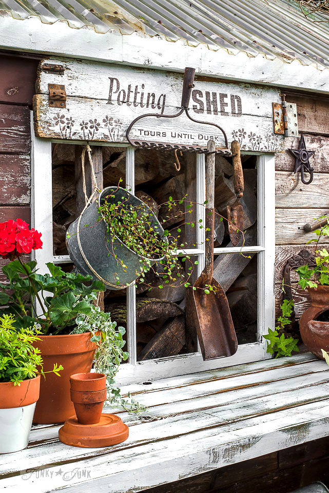 Potting shed stencil by Funky Junk Interiors - available at My Painted Door