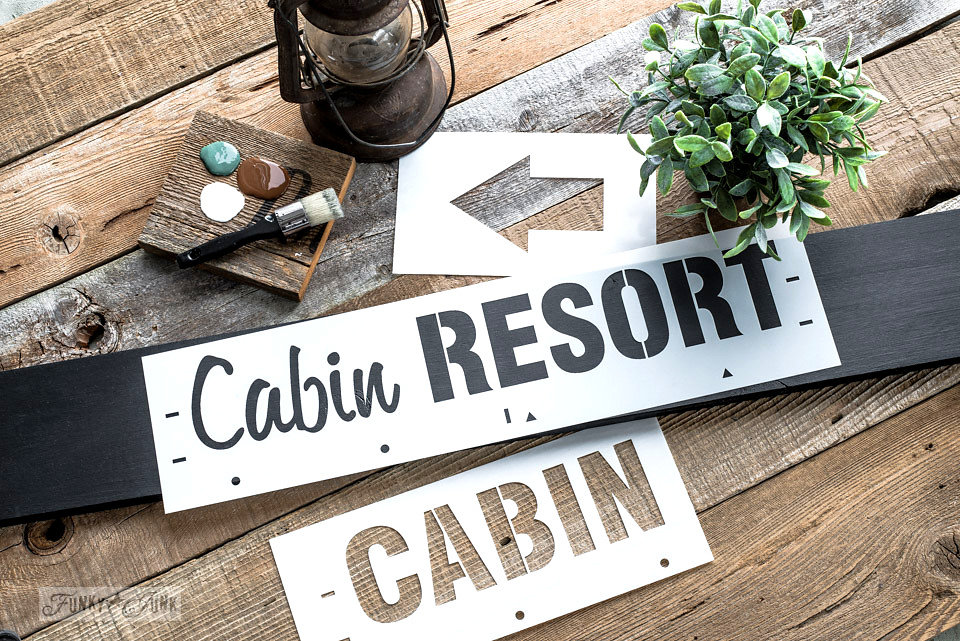 Cabin resort stencil by Funky Junk Interiors - available at My Painted Door