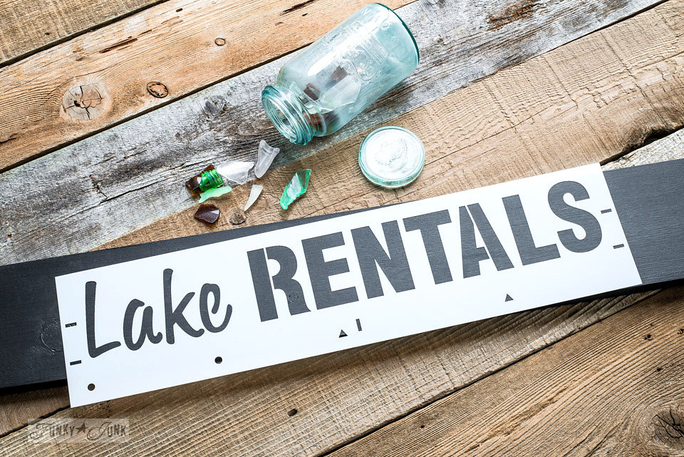 Lake rentals stencil by Funky Junk Interiors - available at My Painted Door