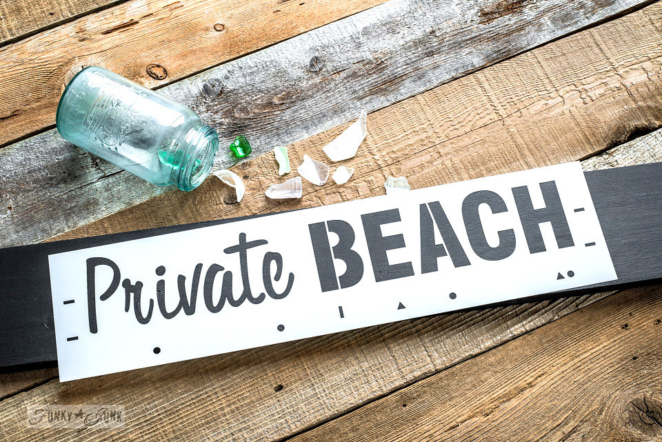 Private beach stencil by Funky Junk Interiors - available at My Painted Door