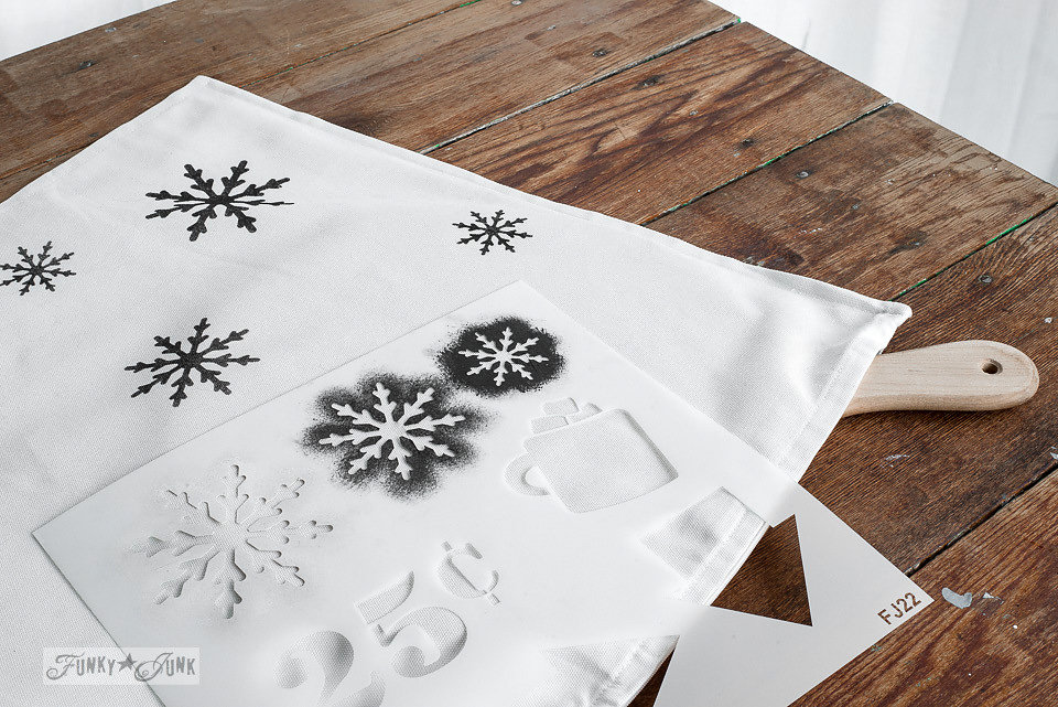 Winter Graphics stencil by Funky Junk Interiors - available at My Painted Door