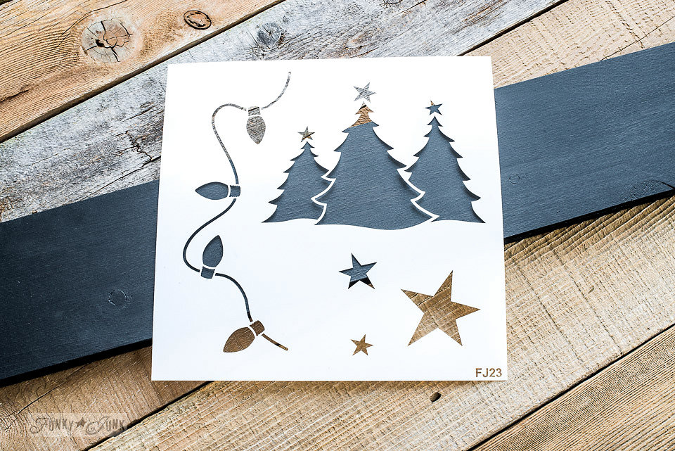 Christmas Graphics stencil by Funky Junk Interiors - available at My Painted Door