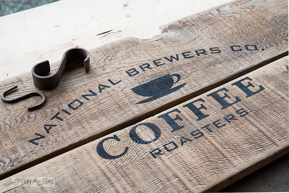 National Brewers Co. Coffee Roasters stencil by Funky Junk Interiors - available at My Painted Door