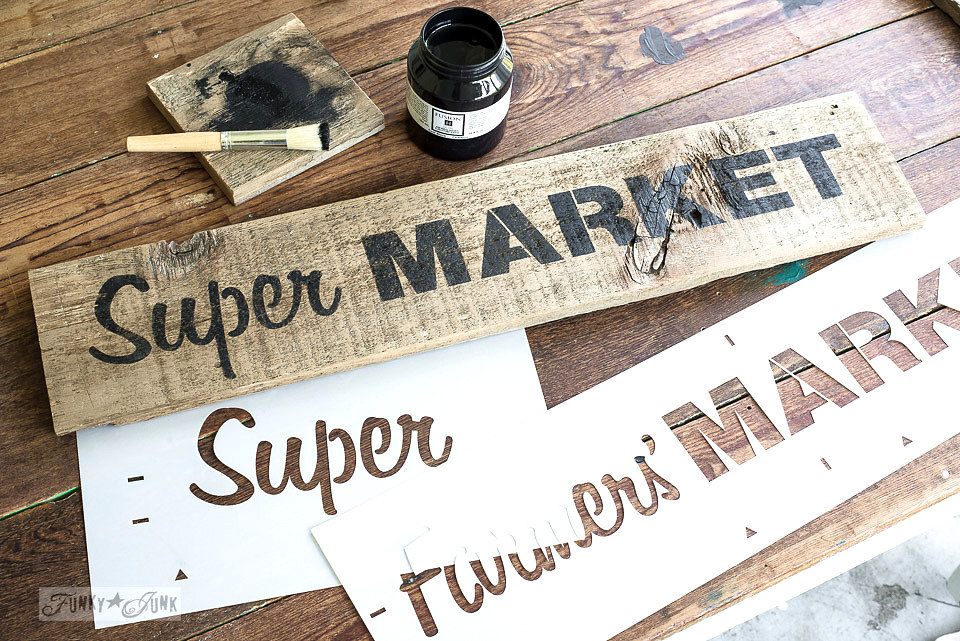 Super Market stencilled on salvaged wood. Funky Junk's Old Sign Stencils are available at My Painted Door.