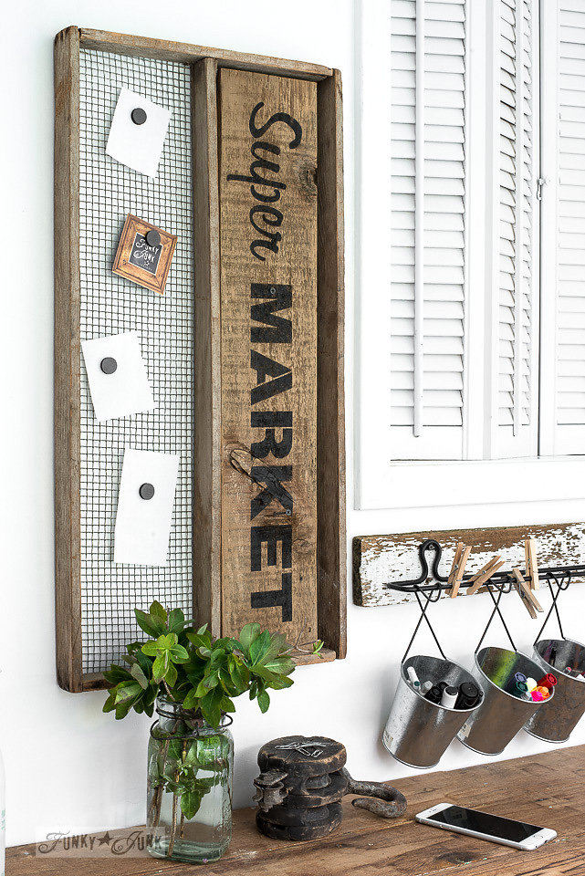 Super Market stencilled on salvaged wood and made into a bulletin board. Funky Junk's Old Sign Stencils are available at My Painted Door.