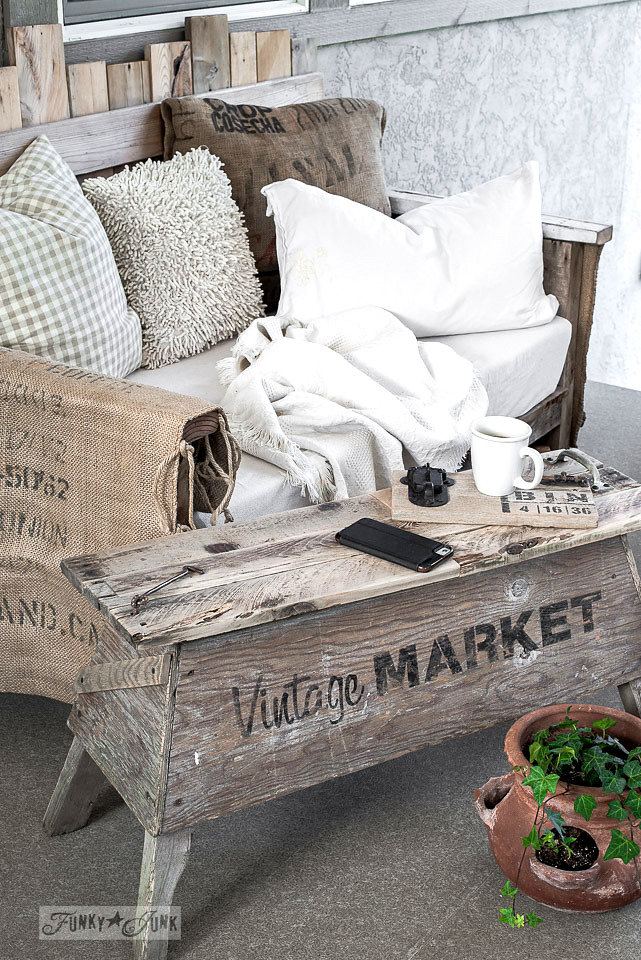 Vintage Market stencilled on an old wood bench. Funky Junk's Old Sign Stencils are available at My Painted Door.