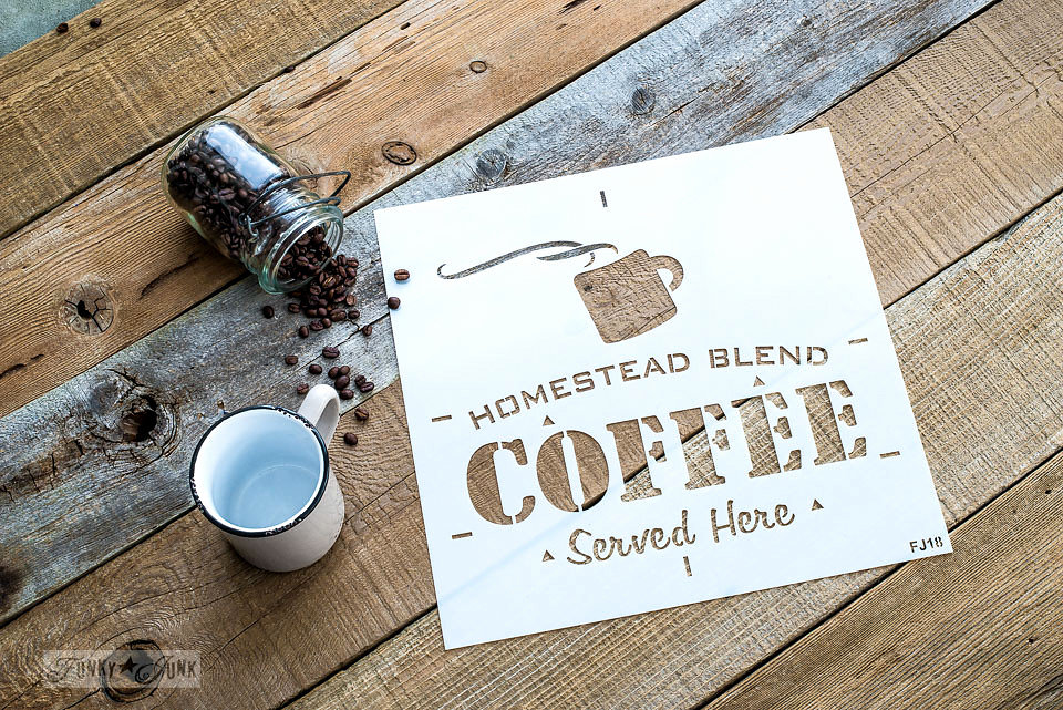 Homestead Blend Coffee stencilled on salvaged wood. Funky Junk's Old Sign Stencils are available at My Painted Door.