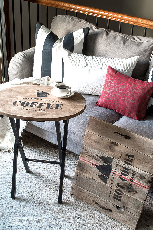 Homestead Blend Coffee stencilled on an old wood table. Funky Junk's Old Sign Stencils are available at My Painted Door.