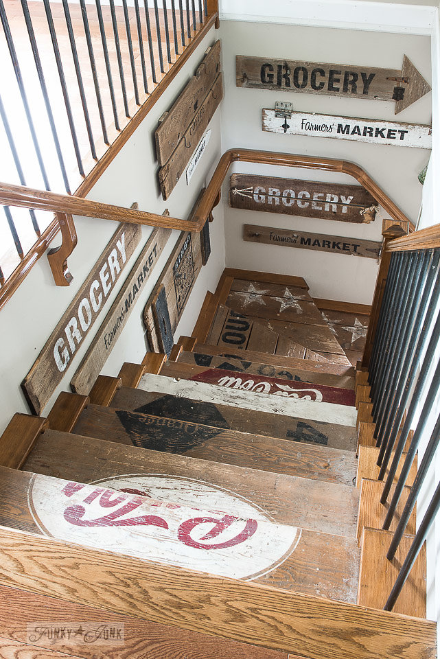 Add a little charm to your stairway. Funky Junk's Old Sign Stencils are available at My Painted Door.