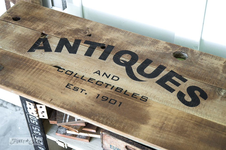 Antiques and Collectibles stencilled on salvaged wood. Funky Junk's Old Sign Stencils are available at My Painted Door.