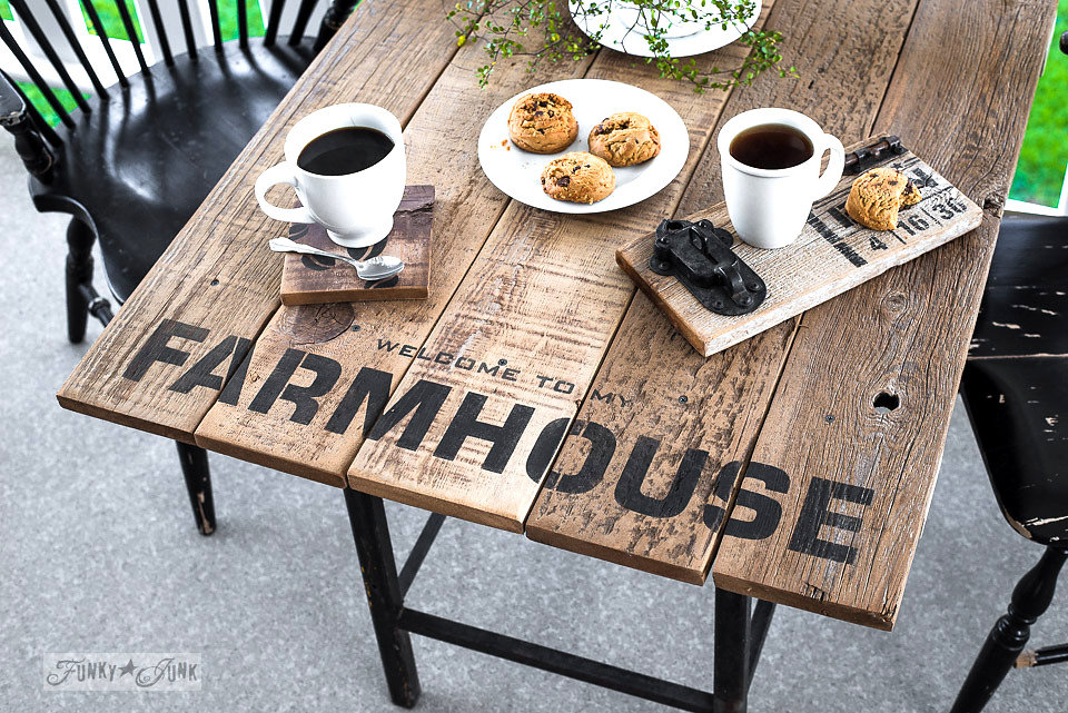 Farmhouse stencilled on an old wood table. Funky Junk's Old Sign Stencils are available at My Painted Door.