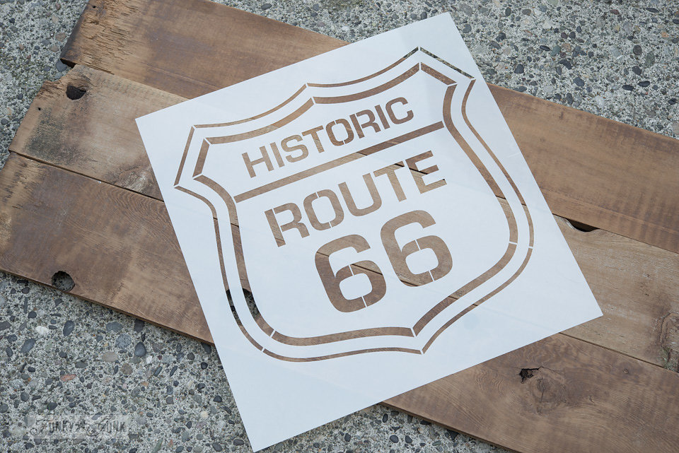 Historic Route 66 stencil. Funky Junk Old Sign Stencils - available at My Painted Door.