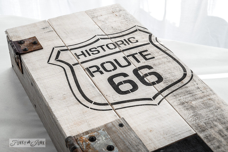 Historic Route 66 stenciled box. Funky Junk Old Sign Stencils - available at My Painted Door.