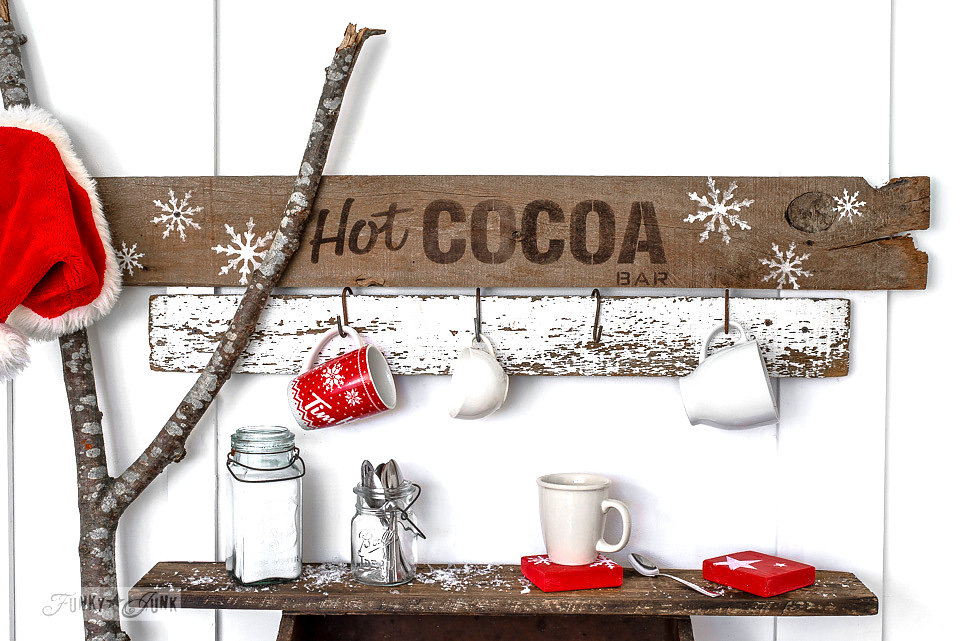 Hot Cocoa Bar stencil on salvaged wood. Funky Junk Old Sign Stencils - available at My Painted Door.