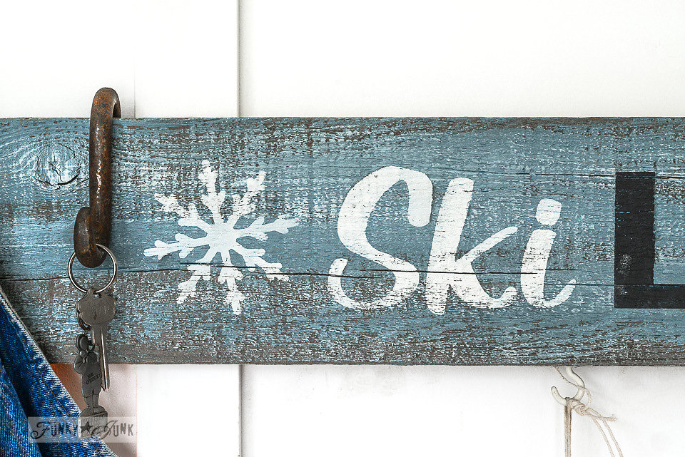 Ski Lodge sign stenciled onto salvaged wood. Funky Junk Old Sign Stencils - available at My Painted Door.
