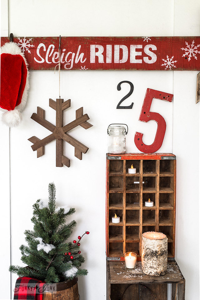 Sleigh Rides sign stenciled onto salvaged wood. Funky Junk Old Sign Stencils - available at My Painted Door.
