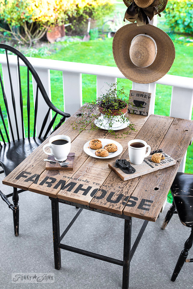 Buy Funky Junk's Old Sign Stencils on-line at My Painted Door. Welcome to my farmhouse stencil painted on an old table.
