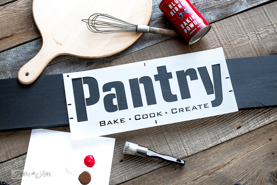 Buy Funky Junk's Old Sign Stencils on-line at My Painted Door. Pantry stencils on salvaged wood painted in Coal Black Fusion Mineral Paint.