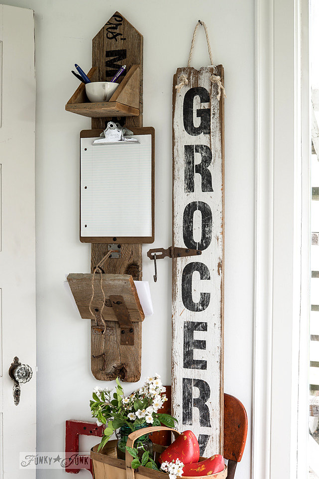 Buy Funky Junk's Old Sign Stencils on-line at My Painted Door. Grocery stencil on salvaged wood.
