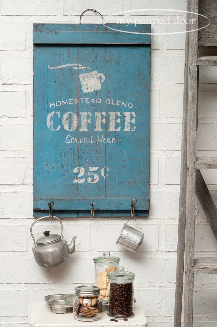 Stencilled coffee sign using Funky Junk's Old Sign Stencils and Miss Mustard Seed's Milk Paint French Enamel and Ironstone.