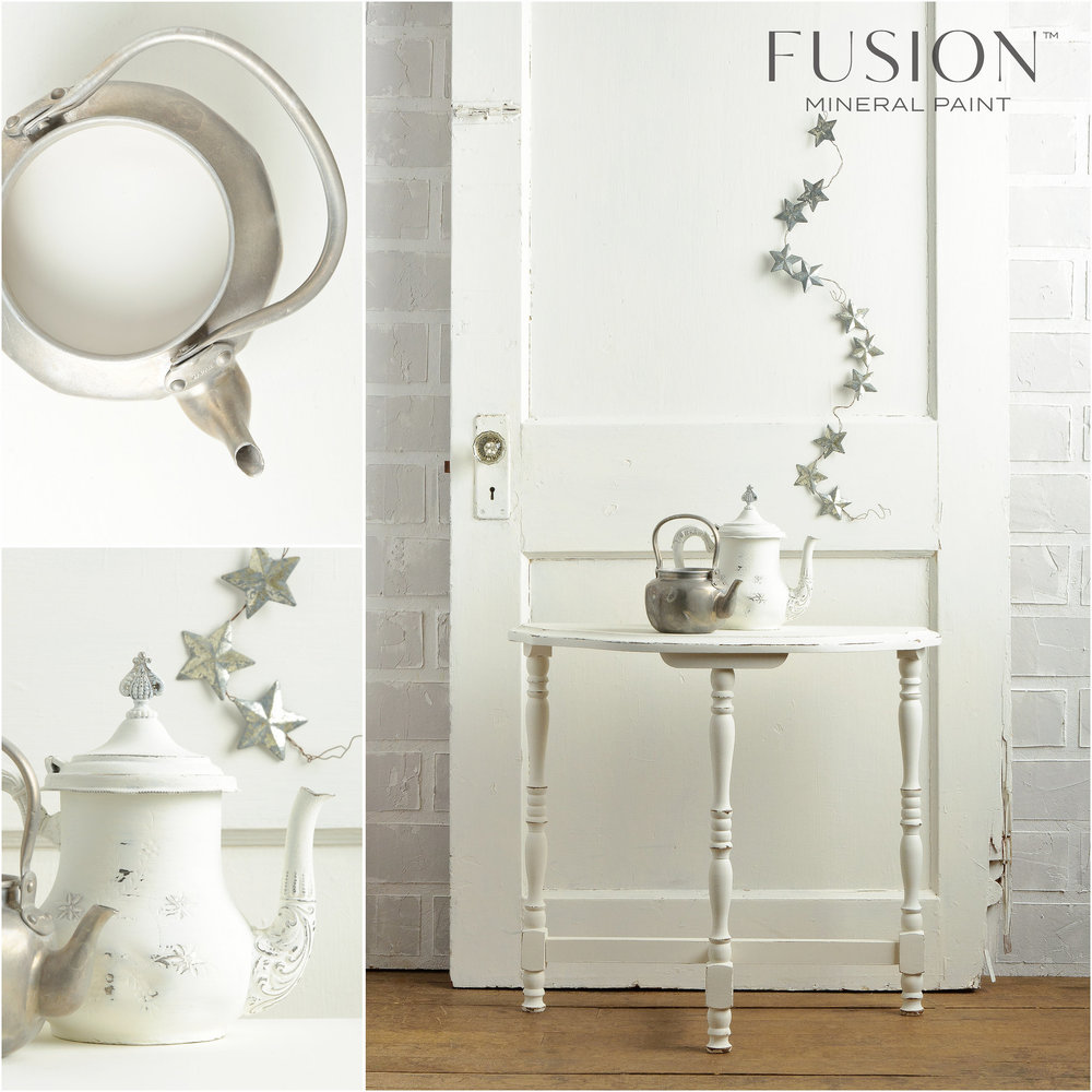 Table, teapot and door painted in Casement Fusion Mineral Paint