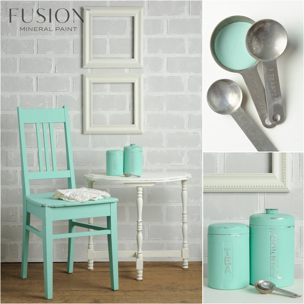 Chair and Cannisters Painted in Laurentien Fusion Mineral Paint