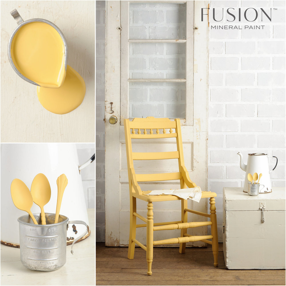 Prairie Sunset is a cheerful, warm yellow. So vibrant, yet flexible enough that it can be used with just about any other colour!