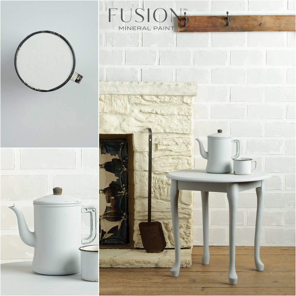 Table and Teapot Painted in Fusion Mineral Paint Sterling
