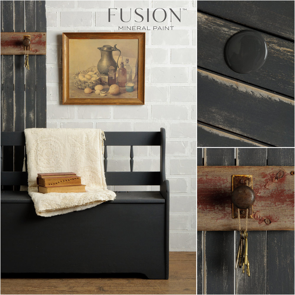 Bench Painted in Ash Fusion Mineral Paint