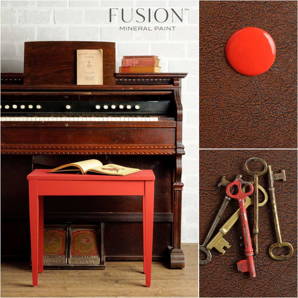 Fort York Red  is a vibrant fire engine red that has been extremely popular over the years. Splashes of this red really pops with excitement in an otherwise neutral room. When used under Coal Black or Ash for the distressed look, it can accentuate the mouldings or edges on the furniture piece.