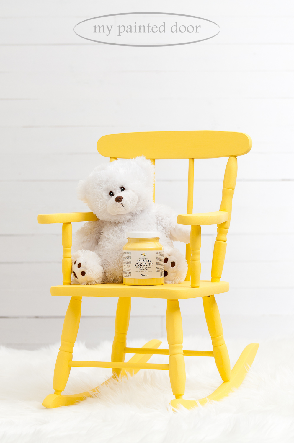 Child's rocking chair painted in the Tones for Tots line of Fusion Mineral Paint. The colour is Little Star.