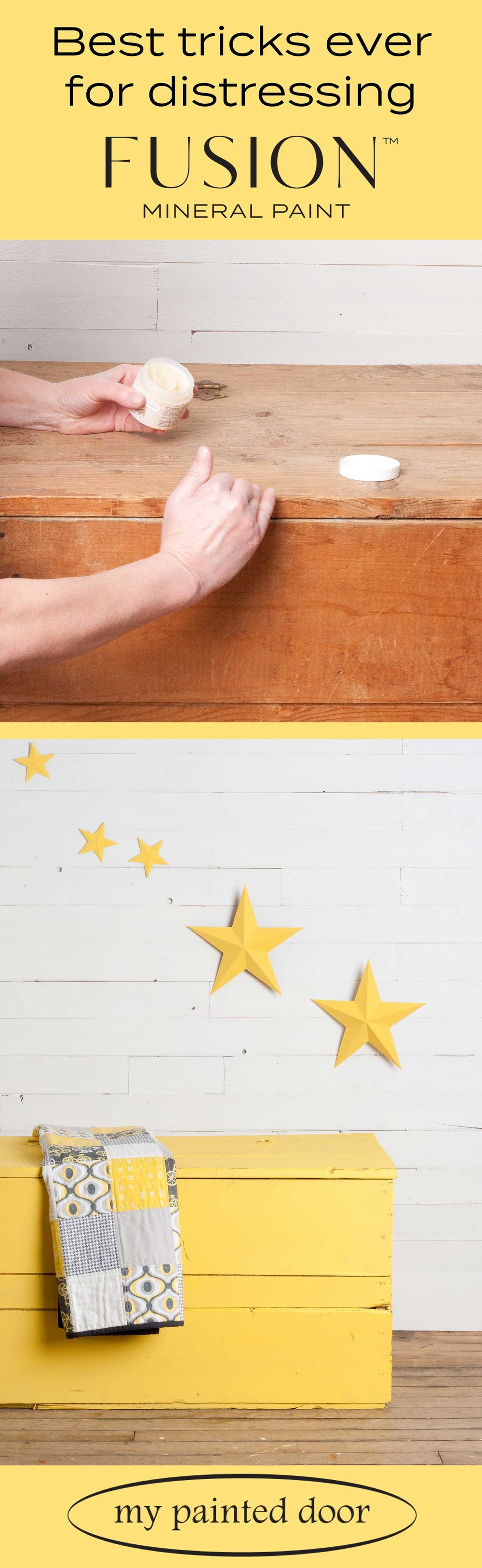 Wood box and metal stars painted with Fusion Mineral Paint in the colour Little Star. Check out my blog post for some great distressing tricks!