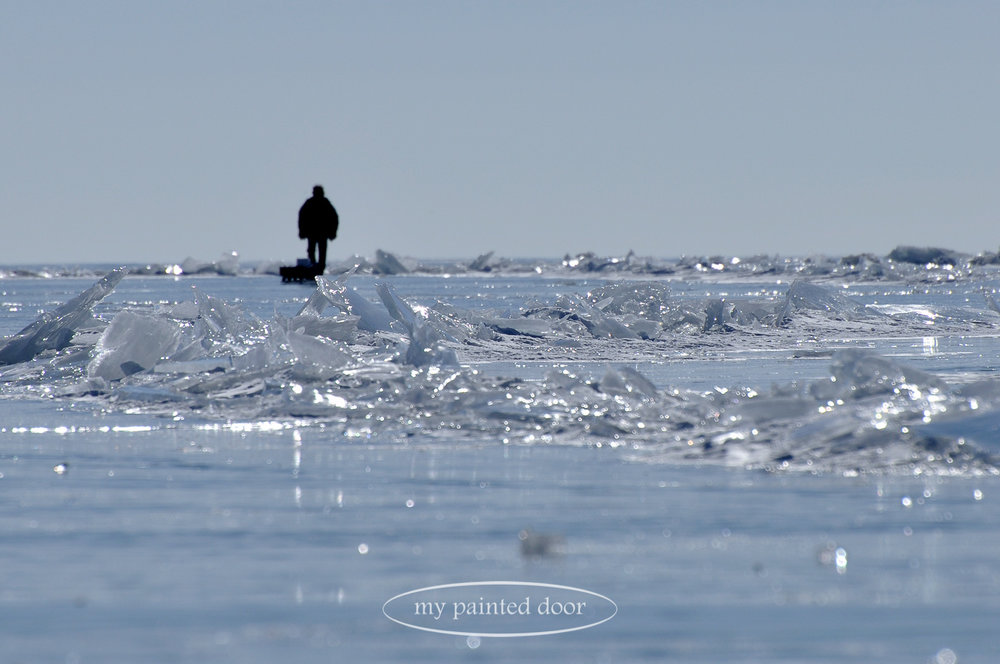 Ice fishing on the shores of Lake Superior. Photography by Sue Sikorski
