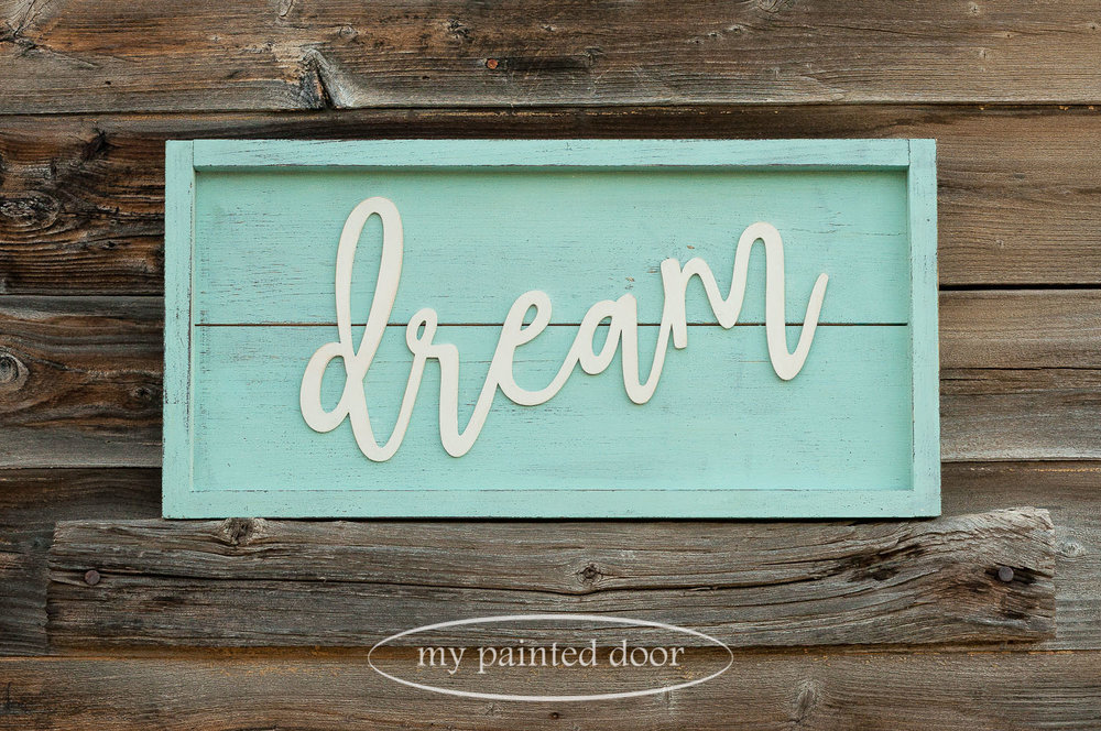Farmhouse style sign painted in Miss Mustard Seed's Milk Paint in the colours Eulalie's Sky and Farmhouse White