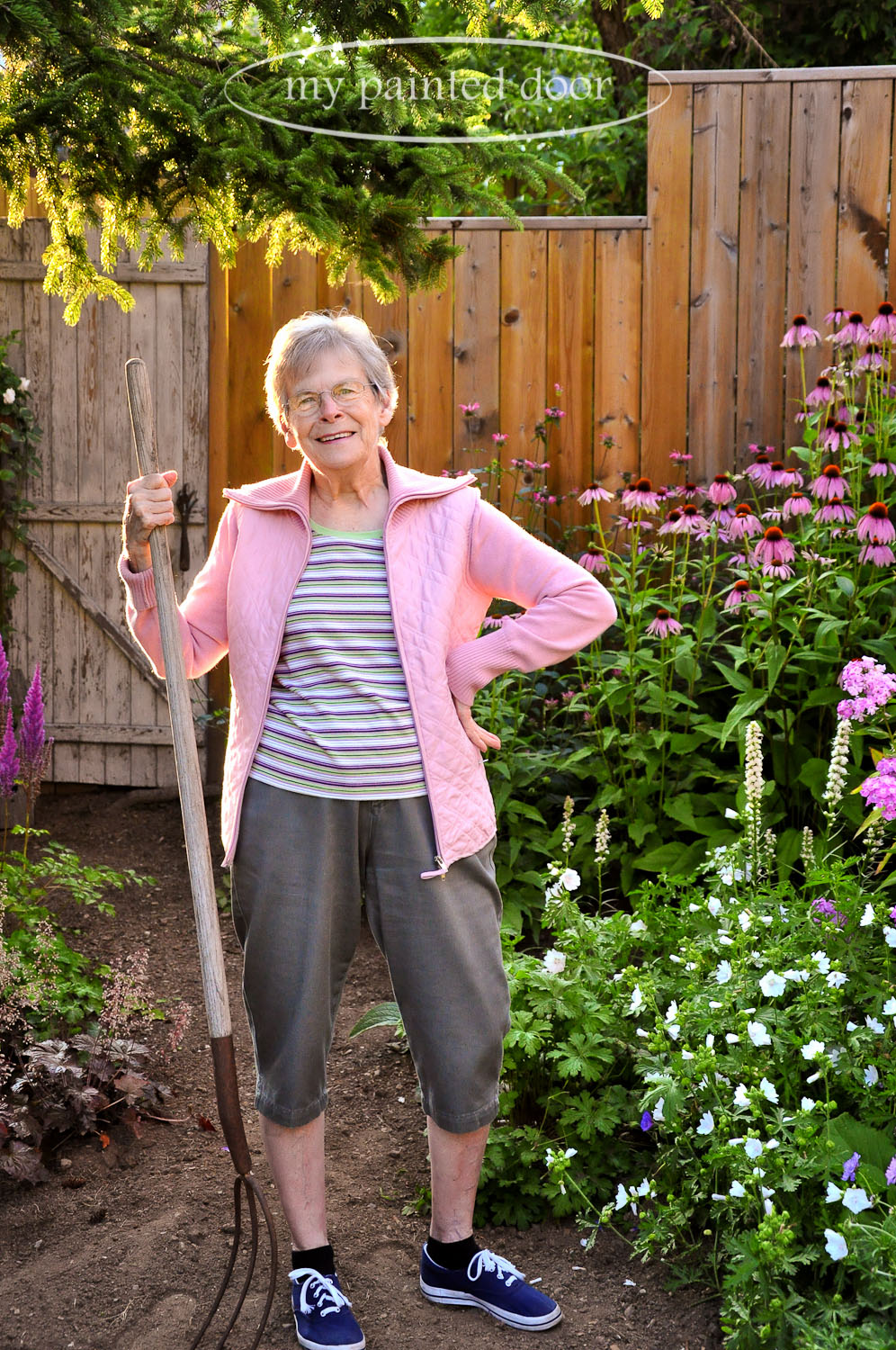 My Mom, Margaret Sikorski, in my garden