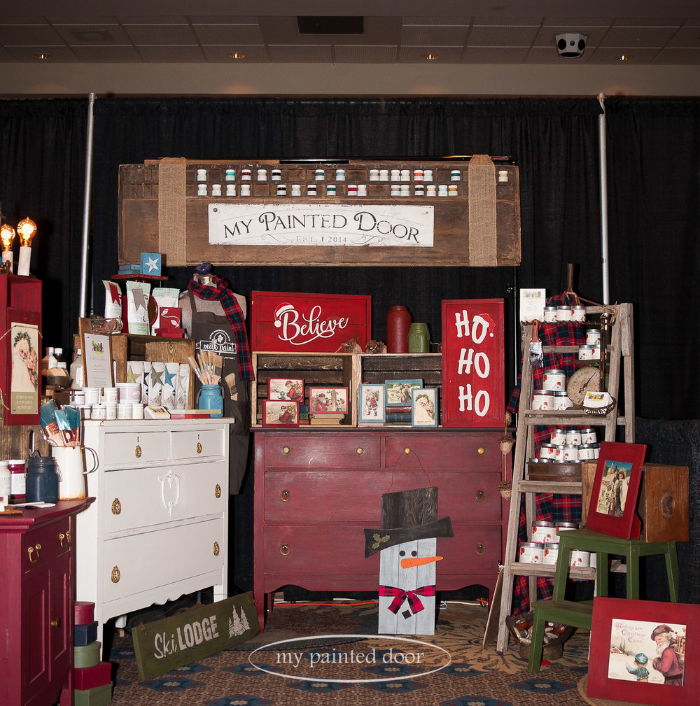 Our Christmas booth at the Valhalla Inn - 'tis the Season Show. We had our paint workshops on display and also showcased the beautiful paints we sell - Fusion Mineral Paint, Miss Mustard Seed's Milk Paint and Homestead House Milk Paint.