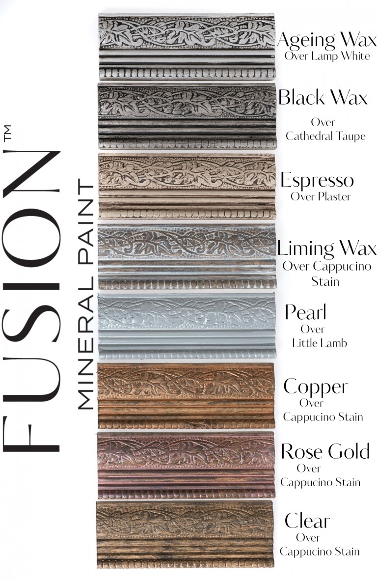 Furniture Wax by Fusion Mineral Paint - available online at My Painted Door. Eight great colours to choose from including Espresso, Black, Ageing, Liming, Pearl, Copper, Rose Gold and Clear.