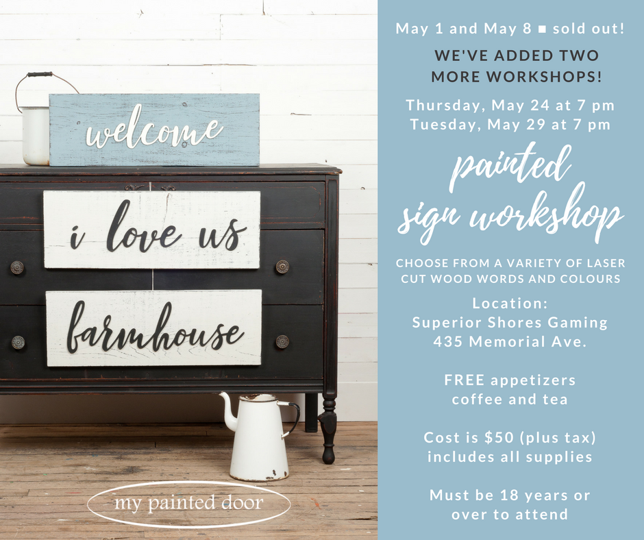 Miss Mustard Seed's Milk Paint workshops - signs painted with Curio, Farmhouse White and Bergere.