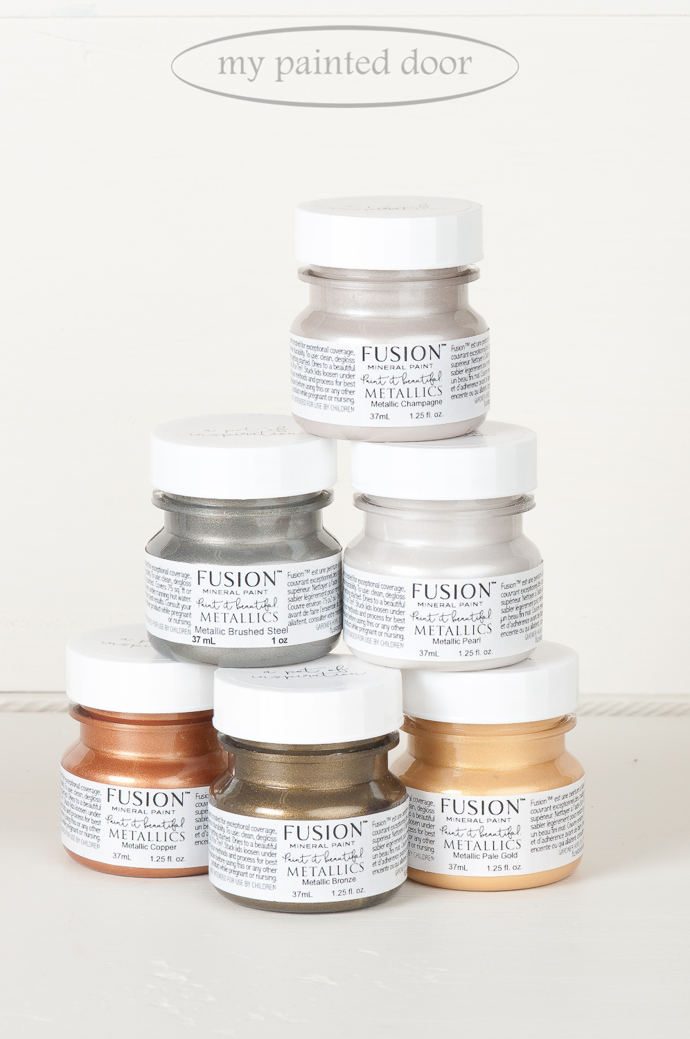 Fusion Mineral Paint Metallics - Champagne, Brushed Steel, Pearl, Copper, Bronze and Pale Gold. Available online at My Painted Door.