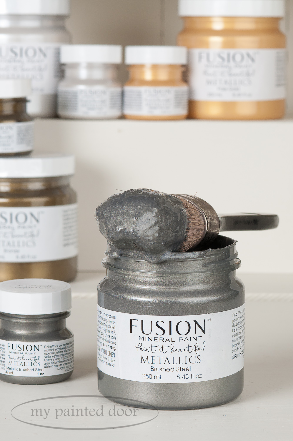 Fusion Mineral Paint Brushed Steel Metallic Paint. Available online at My Painted Door.