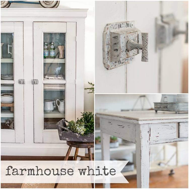 Miss Mustard Seed's Milk Paint Farmhouse White. Available online at My Painted Door.