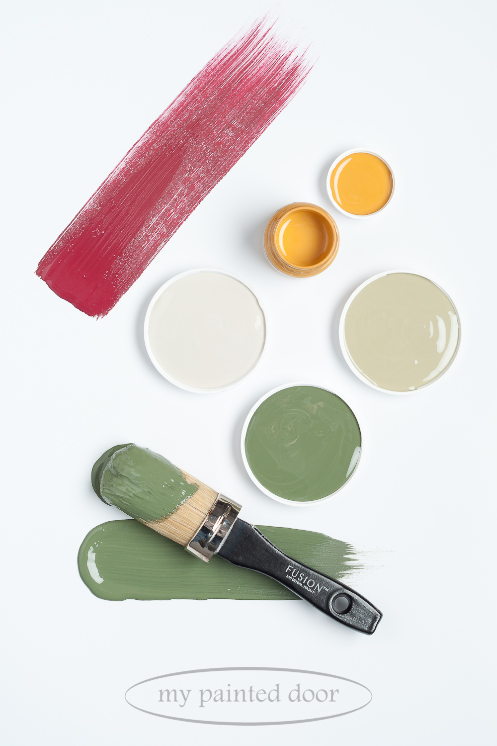 Fusion Mineral Paint Mustard, Putty, Lichen, Bayberry and Cranberry