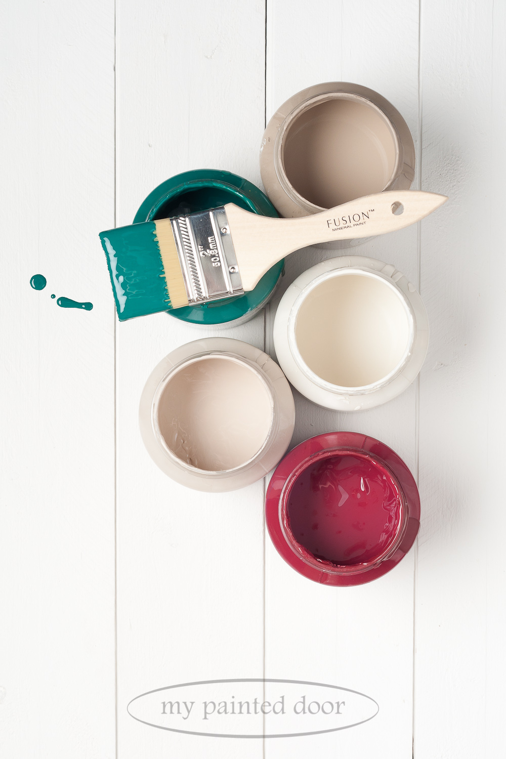 Fusion Mineral Paint Renfrew Blue, Algonquin, Raw Silk, Cathedral Taupe and Cranberry